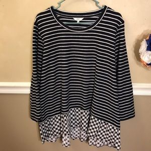 Crown & Ivy striped sweater tunic w/ plaid hem